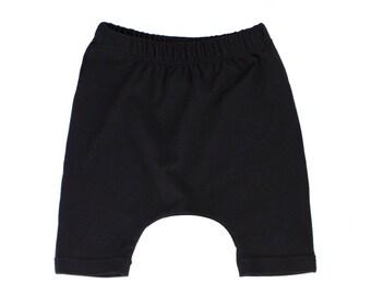 harem shorts, black shorts, black harem shorts, gender neutral shorts, hipster baby shorts