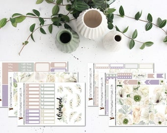Whimsical White || Weekly Planner Kit (175+ Stickers) || Erin Condren, Happy Planner, Recollections, No White Space || SeattlekangarooPlans