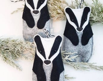 MADE TO ORDER Badger, felt decoration