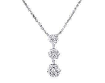 1.25 Carat Round Diamond Floral Cluster Journey Pendant 14K White Gold