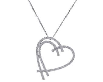 0.50 Carat Round Cut Diamond Heart Pendant Necklace 14K White Gold