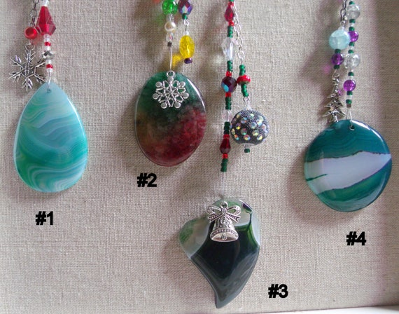 Christmas  ornament - aqua gemstone - green tree agate pendant - silver holiday charms - heart decor ideas - red oval - Lizporiginals