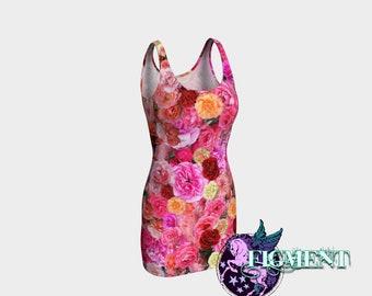 Rose BodyCon Dress - Floral Dress, Pink Dress, Flower Dress, Romantic Dress, Date Dress, Valentine Dress, Feminine Dress, Pretty Dress, Gift