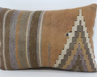 16x24 Decorative Geometric Kilim Pillow Sofa Pillow 16x24 Turkish Kilim Pillow Striped Faded Kilim Pillow Ethnic Pillow SP4060-589