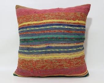 Multicolor Kilim Pillow Cotton Kilim Pillow 24x24 Handwoven Kilim Pillow Striped Kilim Pillow Boho Pillow Cushion Cover SP6060-1217
