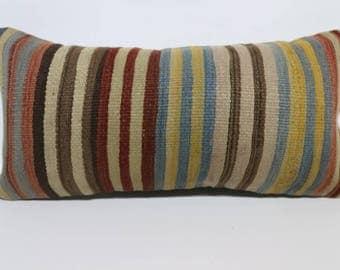 Striped Kilim Pillow Naturel Kilim Pillow Throw Pillow 12x24 Multicolor Kilim Pillow Boho Pillow Anatolian Kilim Pillow SP3060-1217