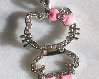 Chain necklace with Pendant in silver and clear rhinestones and pink girl cat
