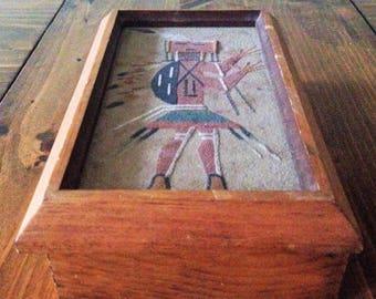Retro Handmade Native American Wood Pencil Jewelry Tool Box Sand Art Tribal HeadDress Feathers Indian Warrior Pen Decor Office Suppy Desk