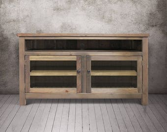 Media Console, Entertainment Console, Reclaimed Wood, Console Cabinet, TV Stand, Rustic, Handmade