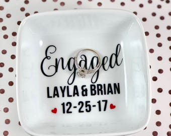 Ring Dish | Jewelry Dish | Ring Holder | Personalized Engagement Ring Holder | Engagement Gift | Bridal Shower Gift | Wedding Ring Holder