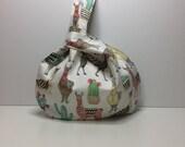 Medium Japanese knot bag, project bag, knitting project bag, crochet project bag, knitting bag, knot bag