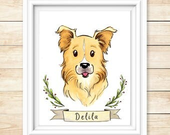 Pet Lover Gift Dog Portrait Pet Portrait Custom Watercolor Pet Portrait Illustration Original Pet Portrait