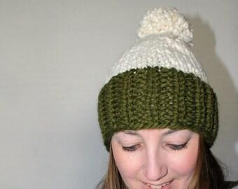 50% OFF SALE Knit Pom Pom Hat, Chunky Knit Hat, Green Knit Hat - Eldridge Hat Cilantro Fisherman