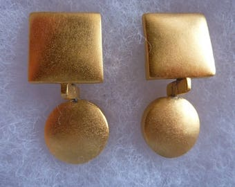 Vintage Retro Modernist Signed Lee Wolfe Clip On Earrings Gold Silver Tone