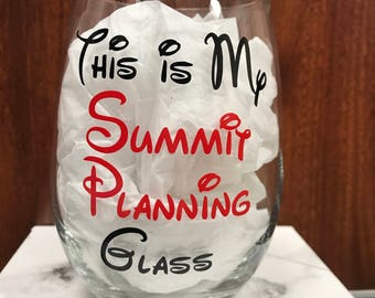 Cheerleading Summit Planning Wine Glass