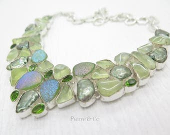 Prehnite Titanium Drusy Fresh Water Pearl Peridot Sterling Silver Necklace