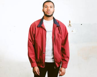 Red Vintage Jacket . Men's 90s Spring Jacket Zip Up Bomber Jacket Windbreaker Hiking Jacket Spring Outerwear Boyfriend Gift . size Large L