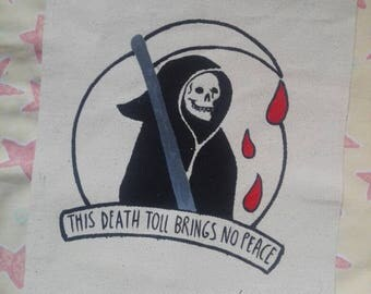 grim reaper hand painted back patch