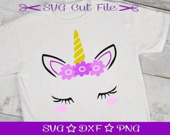 Unicorn SVG Cut File, Unicorn Face SVG Cutting File, Unicorn Head SVG, Unicorn with Lashes, Unicorn Birthday, Unicorn with Flowers