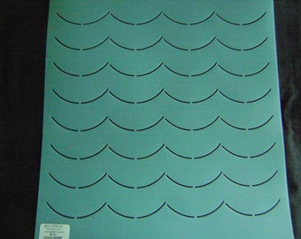 Sashiko Japanese or Traditional Quilting Stencil 12 in. Background 1.5 in. Ocean Waves Grid