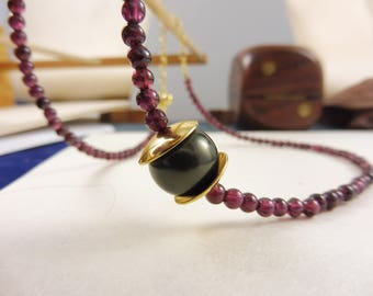 "Purple Garnet Necklace with Shell Pearl - ""Empress' Gift"""