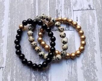 Black, Dalmatian, Gold Trio