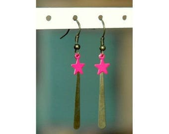 Bronze star earrings neon pink