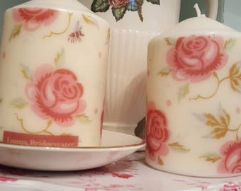 Emma Bridgewater Themed Rose & Bee Hand Decorated Set  of 2 Candles