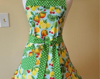 Handmade boutique quality womens apron, citrus print, lime, lemon, orange,  ApronsNSuchbyBrenda