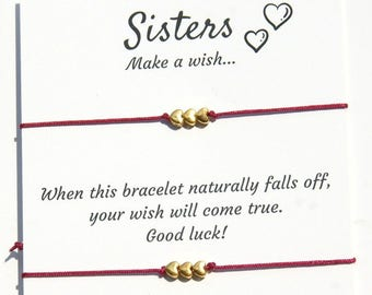 Sisters Wish Bracelet  Matching bracelet Sisters bracelet for 2 Birthday gift  for Sister Wish Bracelet  gift for bestfriend