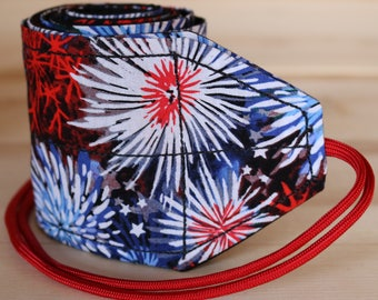 TraininGear Wrist Wraps Red and Blue Fireworks Weightlifting Lifting Crossfit Training Gear