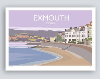 Exmouth, Devon. Landscape Print. HAND SIGNED Art Print/Travel Poster. Plus Free Postage!
