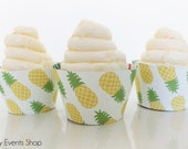 Tropical Yellow Pineapple Cupcake Wrappers, Pineapple Cupcake Wrappers, Pineapple Party, Tropical Luau Cupcake Wrappers - Set Of 6,12,16,24+