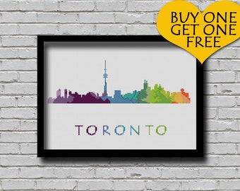 Cross Stitch Pattern Toronto Ontario Canada City Silhouette Watercolor Effect Decor Rainbow Color Skyline xstitch DIY E Pattern