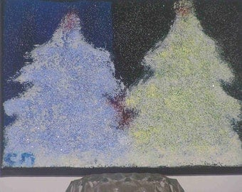 """Snowy trees blue and yellow"" paint on canvas (18x24cm) frame"