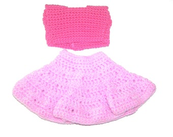 Pretty skirt set pink baby doll 32 cm crochet handmade