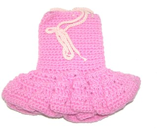 Small strapless corset doll 36 cm pink hand crocheted baby dress