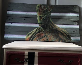 Super hero on wood painting recycled