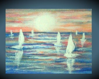 sunrise art original aceo  bridesmaid gift sails art contemporary art abstract painting sister gift for her ocean sunrise sailboat art
