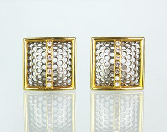 Vintage clip earrings with Rhinestone ornament