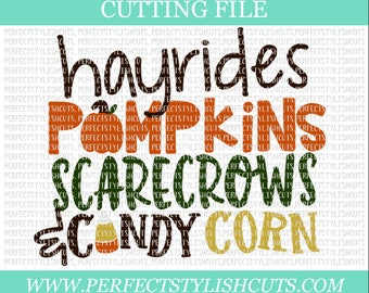 Hayrides, Pumpkins, Scarecrows And Candy Corn Svg - Pumpkin Patch SVG, DXF, EPS, png Files for Cutting Machines Cameo or Cricut - Fall Svg