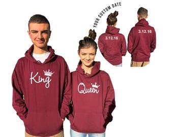KING QUEEN couple hoodies, personalized Back custom Dates, Comes in a pair, Anniversary gift **BOTH