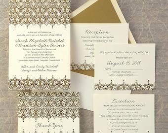 Elite Letterpress Wedding Invitations - Classic Wedding Invite - Letterpress Wedding Invitation Suite -AV1887