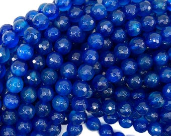 """8mm faceted agate round beads 15"""" strand dark blue 38806"""