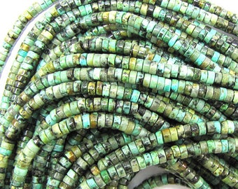 """4mm african turquoise heishi beads 16"""" strand 31423"""