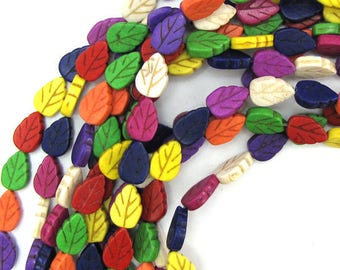"""13mm multicolor turquoise carved leaf beads 15.5"""" strand 12839"""