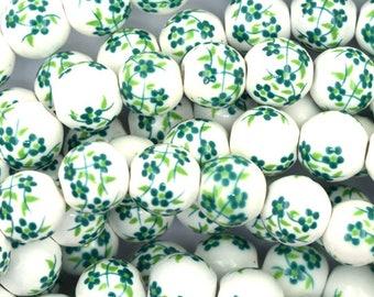 "8mm flower porcelain round beads 14"" strand green 36907"