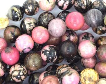 "10mm black pink rhodonite round beads 15.5"" strand 37357"