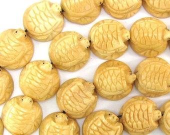 "20mm bone carved turtle beads 7.5"" strand 31984"