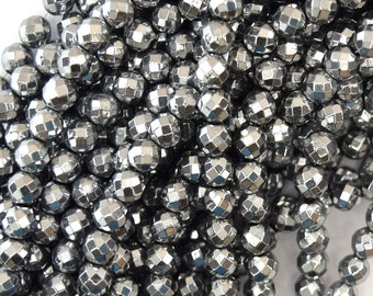 """6mm faceted silver hematite round beads 15.5"""" strand 36342"""